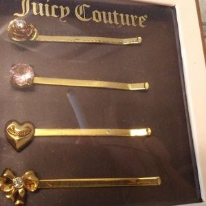 Boxed Set of 4 Juicy Couture Gold Tone Bobby Pins